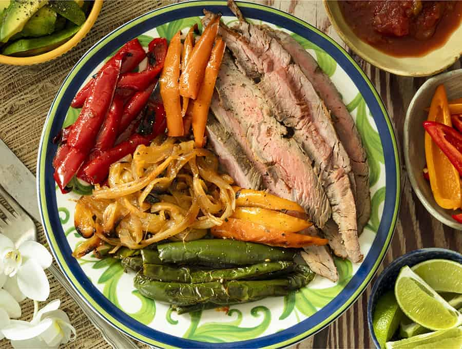 keto steak recipes - overhead shot of a plate of flank steak fajitas