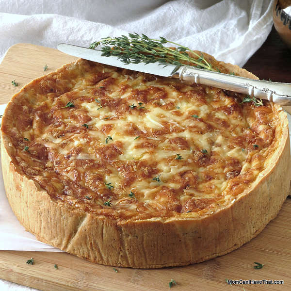 Ham Quiche Lorraine with Caramelized Onions & Gouda