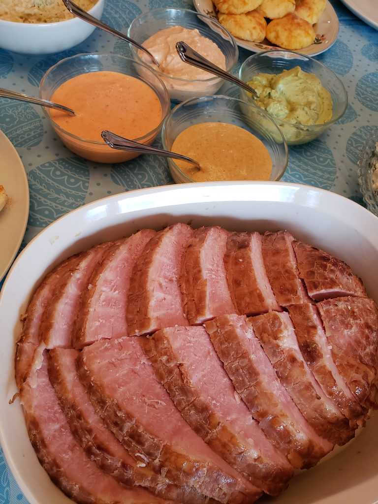 Keto Ham with Fancy Dipping Sauces