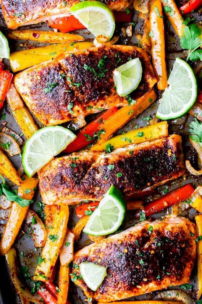 Keto Mexican-Inspired Recipes - Sheet Pan Salmon Fajitas