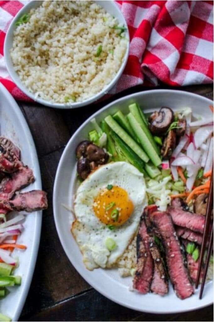 Keto Steak Bibimbap Cauliflower Rice Bowl