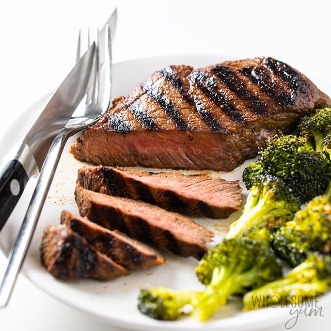 Top Sirloin Steak on a plate being sliced with a steak knife