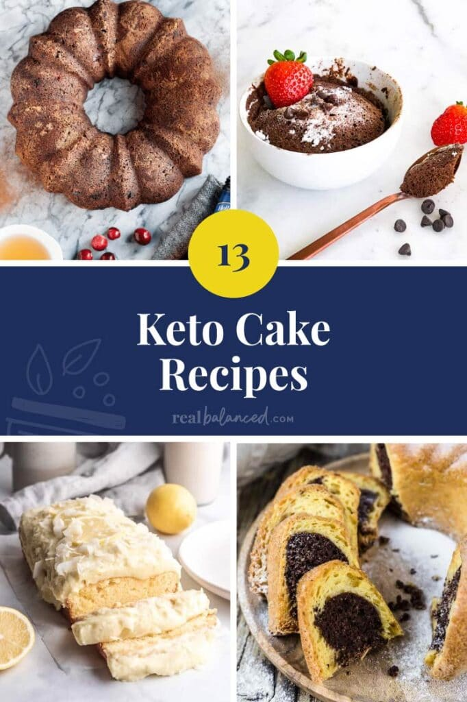 blue collage with 4 different keto cakes