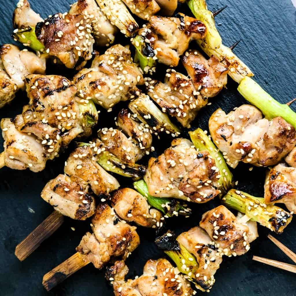 close-up shot of Japanese chicken skewers