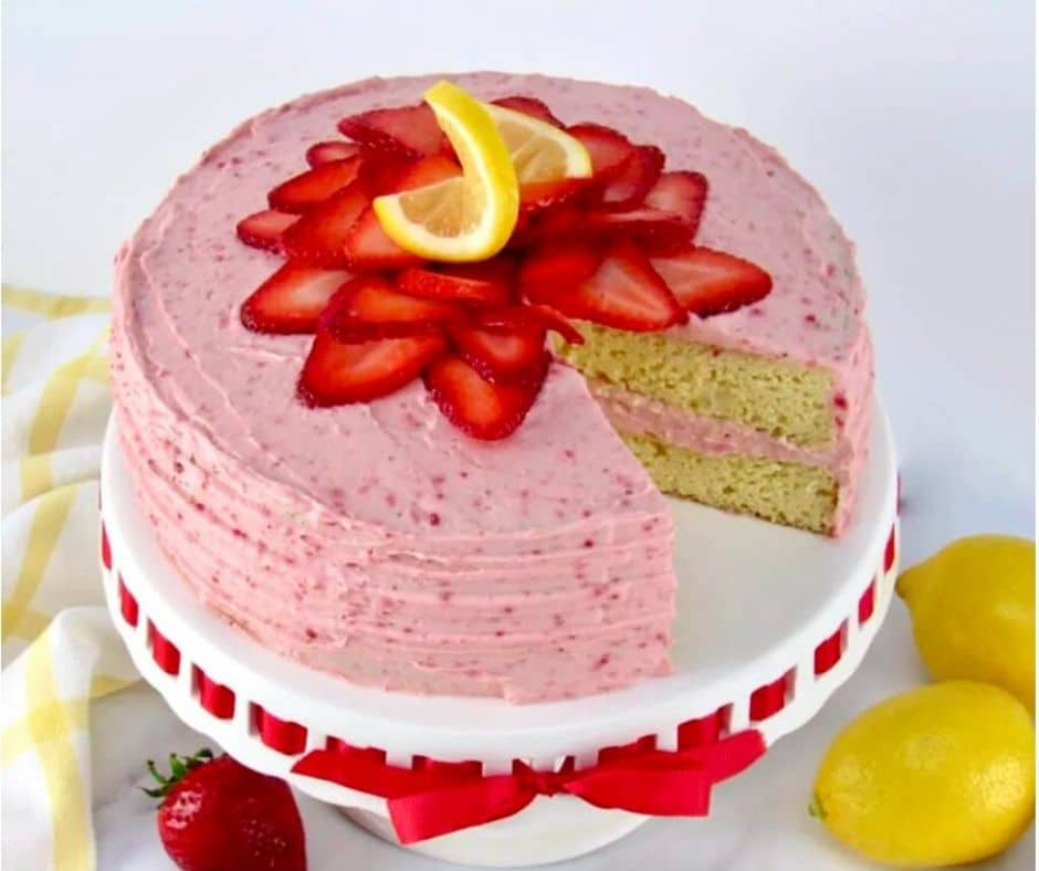 Keto Strawberry Lemonade Cake