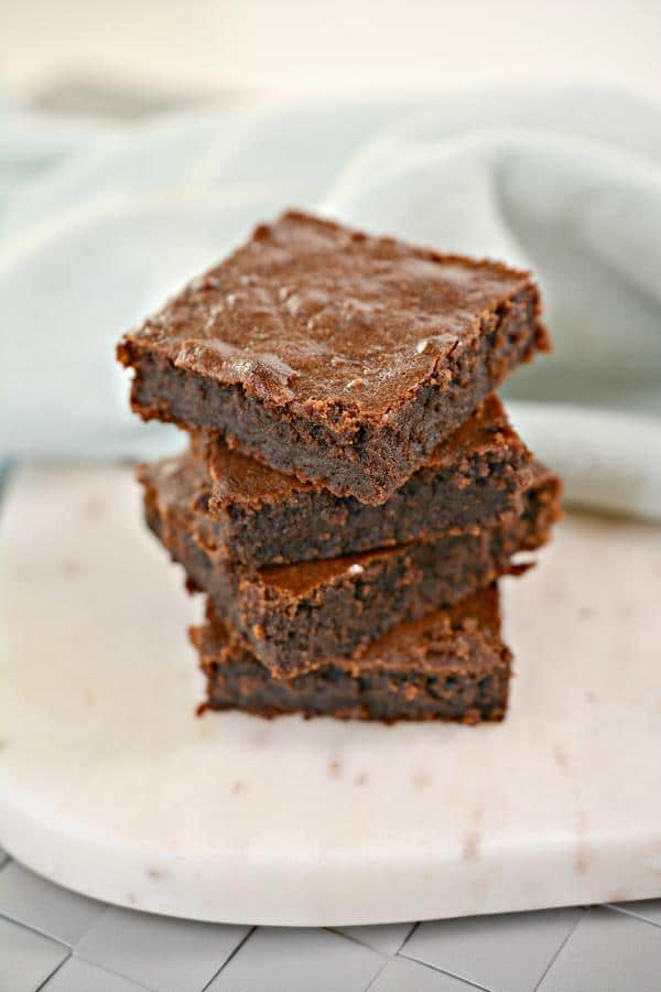 3 ingredient nutella brownies on a marble kitchen counter