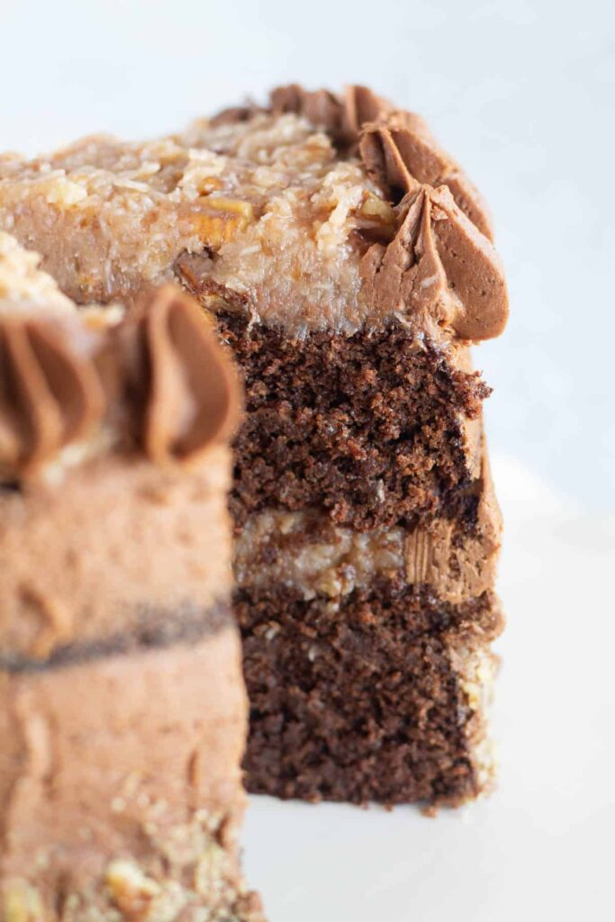 close-up image of keto german chocolate cake