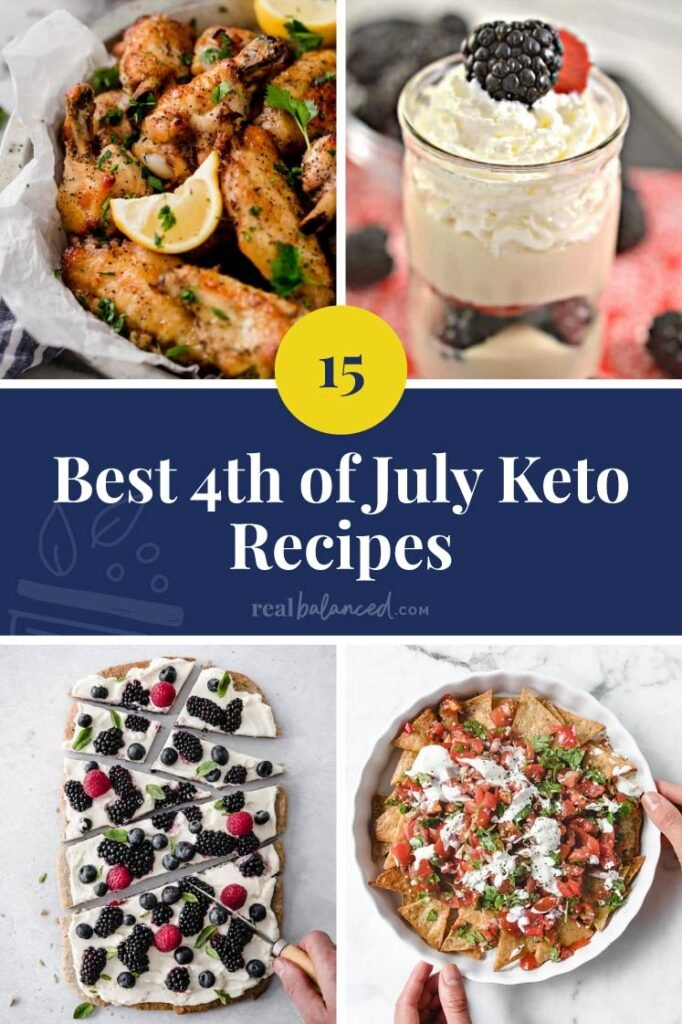 The Best 4th of July Keto Recipes blue bannered collage featured image
