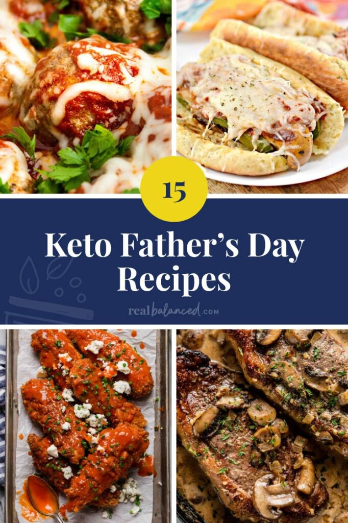 Keto Father's Day Recipes collage with blue banner