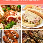 Keto Father's Day Recipes Pinterest pin image with coral colored banner