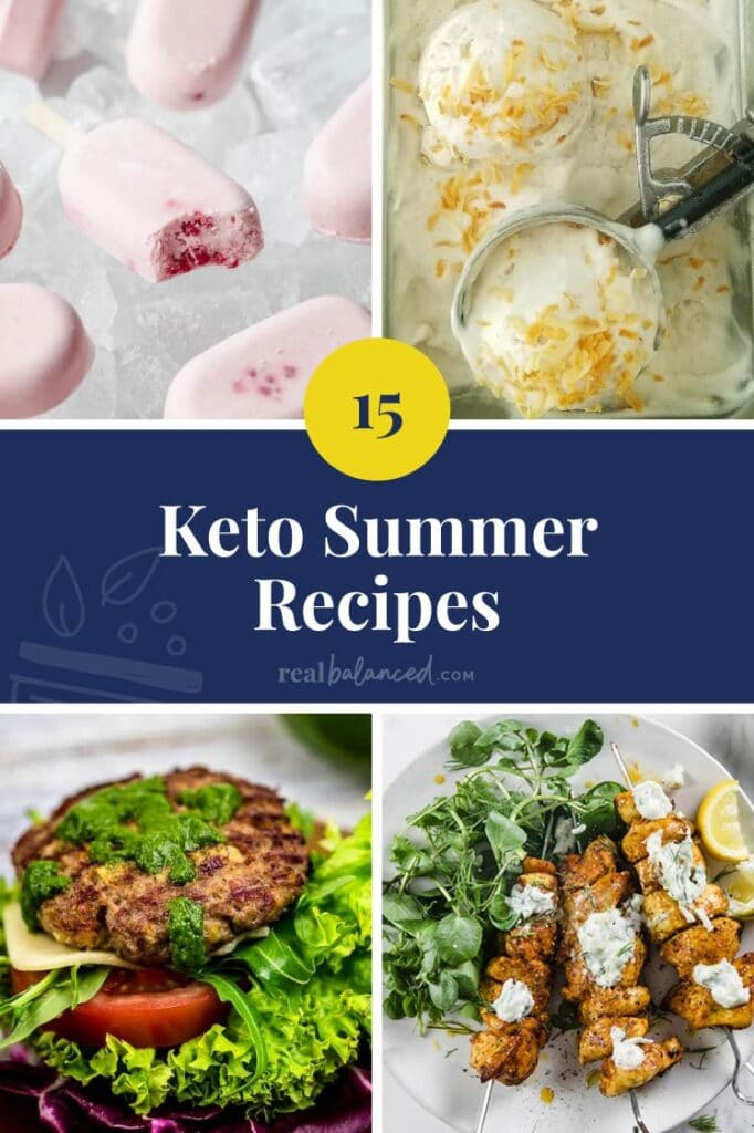 15 Keto Summer Recipes blue bannered collage featured image