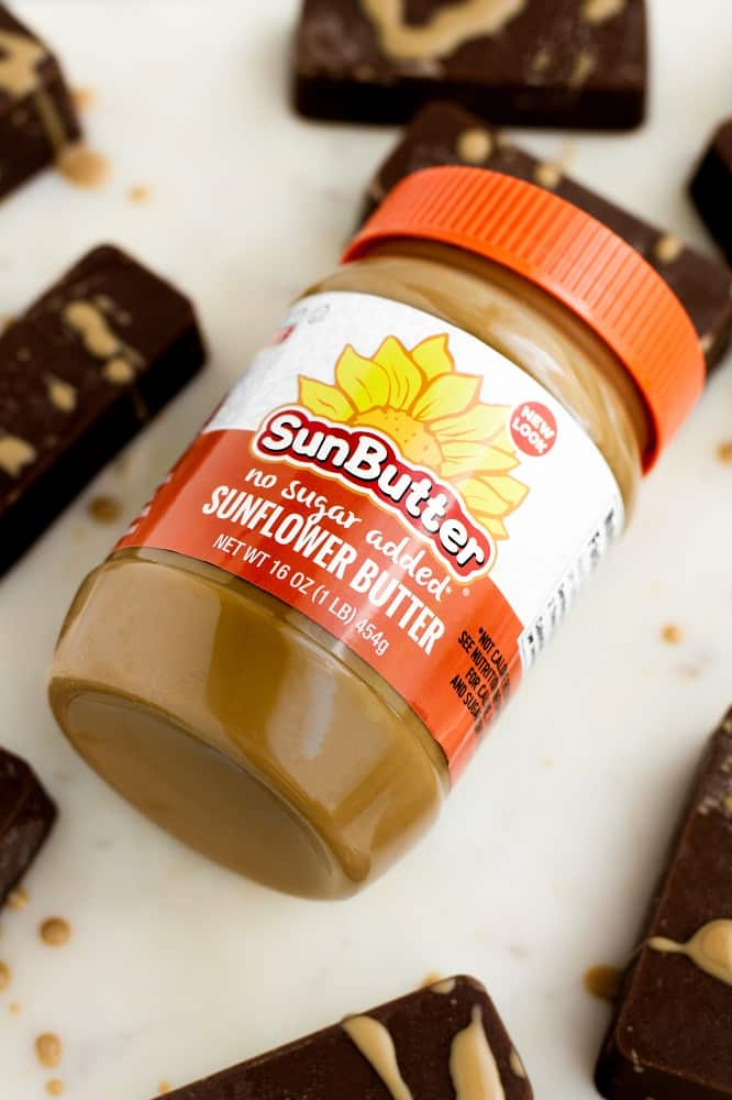 overhead shot of a jar of sunbutter no sugar addded sunflower butter