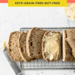 Nut-Free Keto Bread Pinterest coral colored pin image