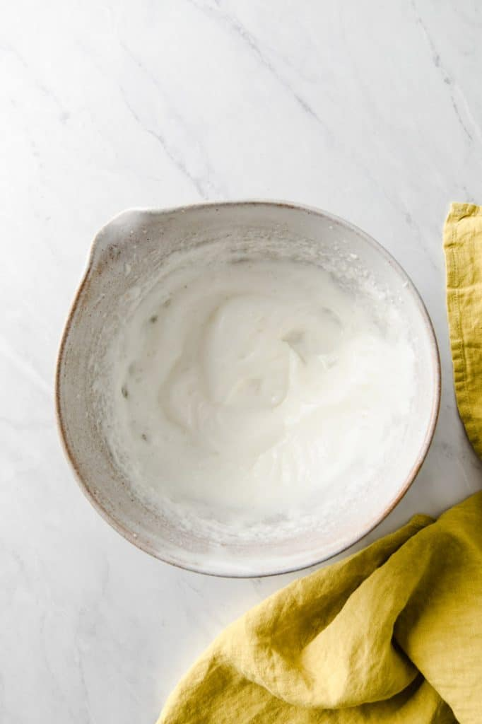 egg whites whisk until fluffy in a mixing bowl