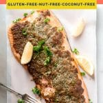 Keto Baked Parmesan Crusted Salmon coral colored Pinterest pin image