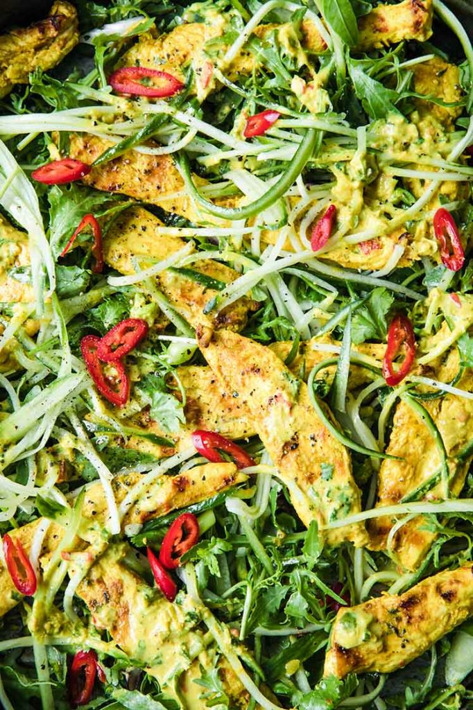 close-up over head image of a pan of thai coconut chicken salad