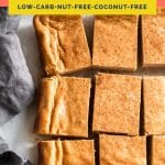 Nut-Free Keto Pumpkin Cheesecake Bars coral colored Pinterest Pin image