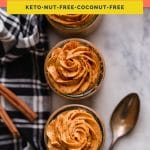 Low-Carb Pumpkin Mousse coral colored Pinterest pin image