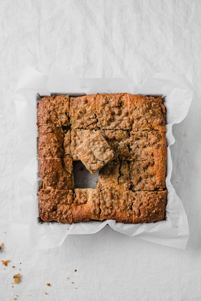 overhead image of keto coffee cake sliced into 16 pieces