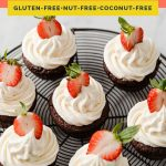 Low-Carb Chocolate Strawberry Cupcakes coral colored Pinterest pin image