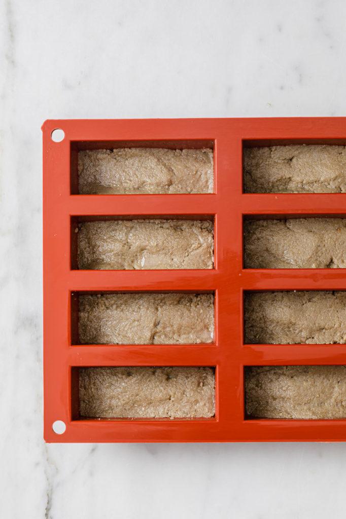 twix copycat mixture transferred in a rectangular mold