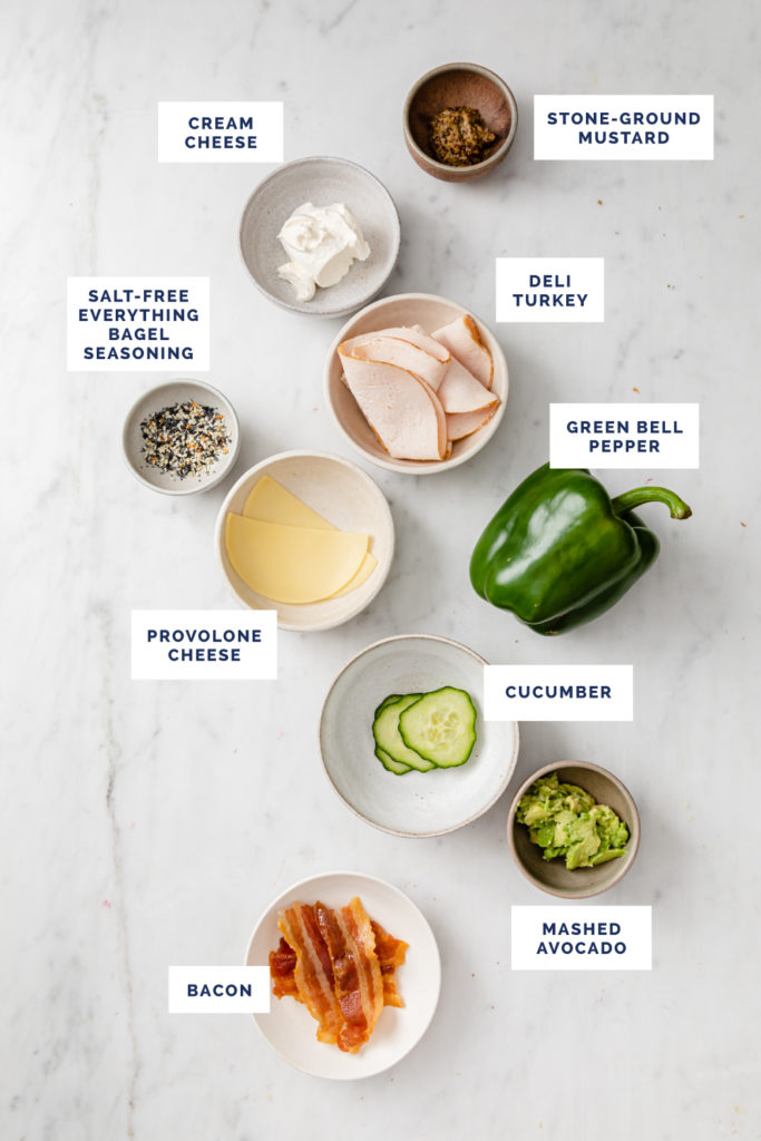 all ingredients needed to make bell pepper sandwich