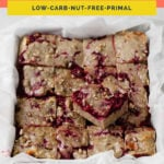 Keto Raspberry Cake Bars coral colored Pinterest in image